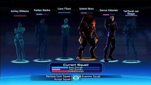 Mass Effect Character Menu