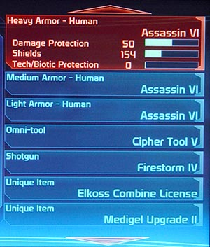 Mass Effect Shop Item List