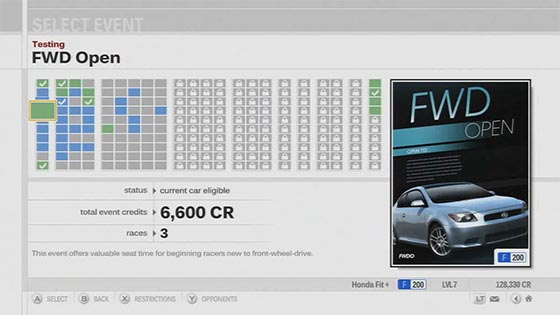 Forza 3 Event Selection Screen