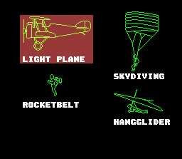 Pilotwings Selection Screen