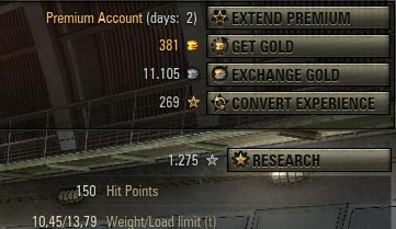 World of Tanks Gold System